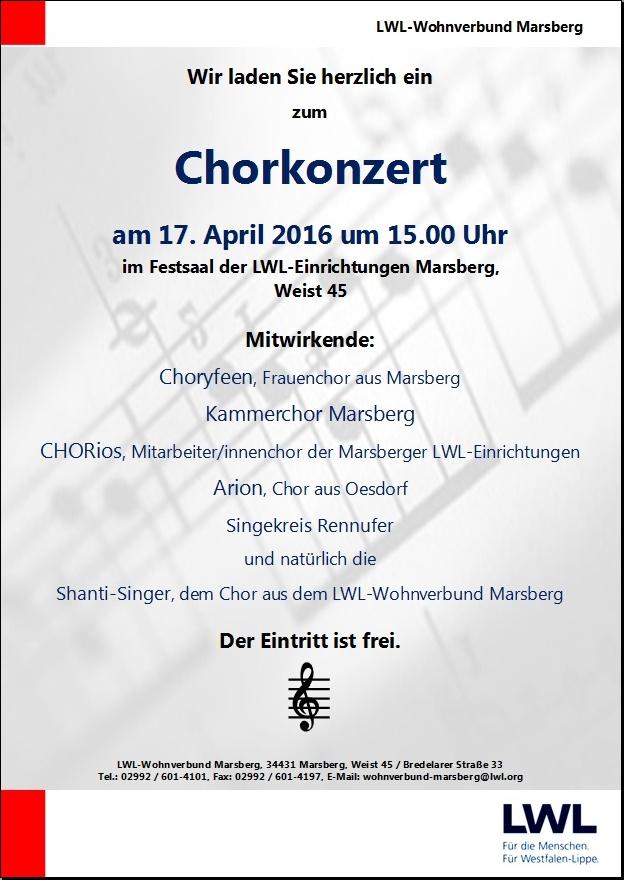 Plakat Chorkonzert im LWL-Festsaal Marsberg am Sonntag, 17. April 2016