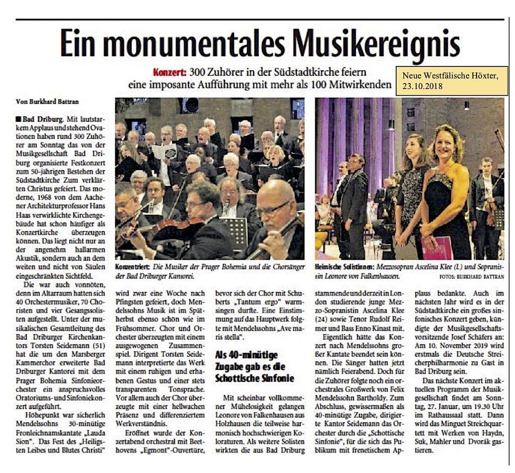 Ein monumentales Musikereignis, Neue Westfälische vom 23.10.2018